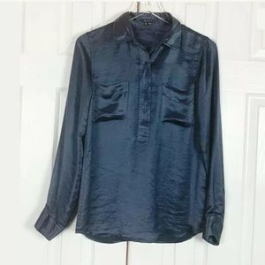 THEORY MIDNIGHT BLOUSE LS TUNIC 3/4 BUTTON TOP